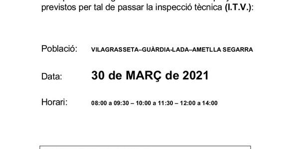 Inspecció Tècnica de vehicles agrícoles el dia 30 de març. Obligatori demanar cita prèvia