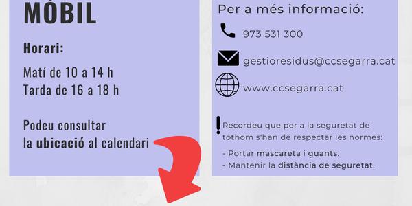 Servei de deixalleria mòbil a Montoliu de Segarra el dia 27 de maig