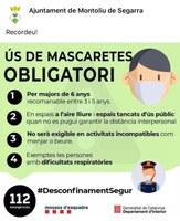 A partir del dia 21 de maig és obligatori l'ús de la mascareta a l'espai públic